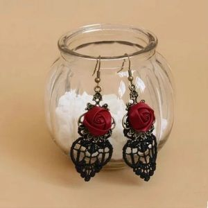 Jewelry - Gothic Victorian Rose Lace Earrings